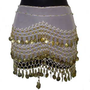 WHITE SHEER BELLY DANCER  WAIST SCARF WITH GOLD
